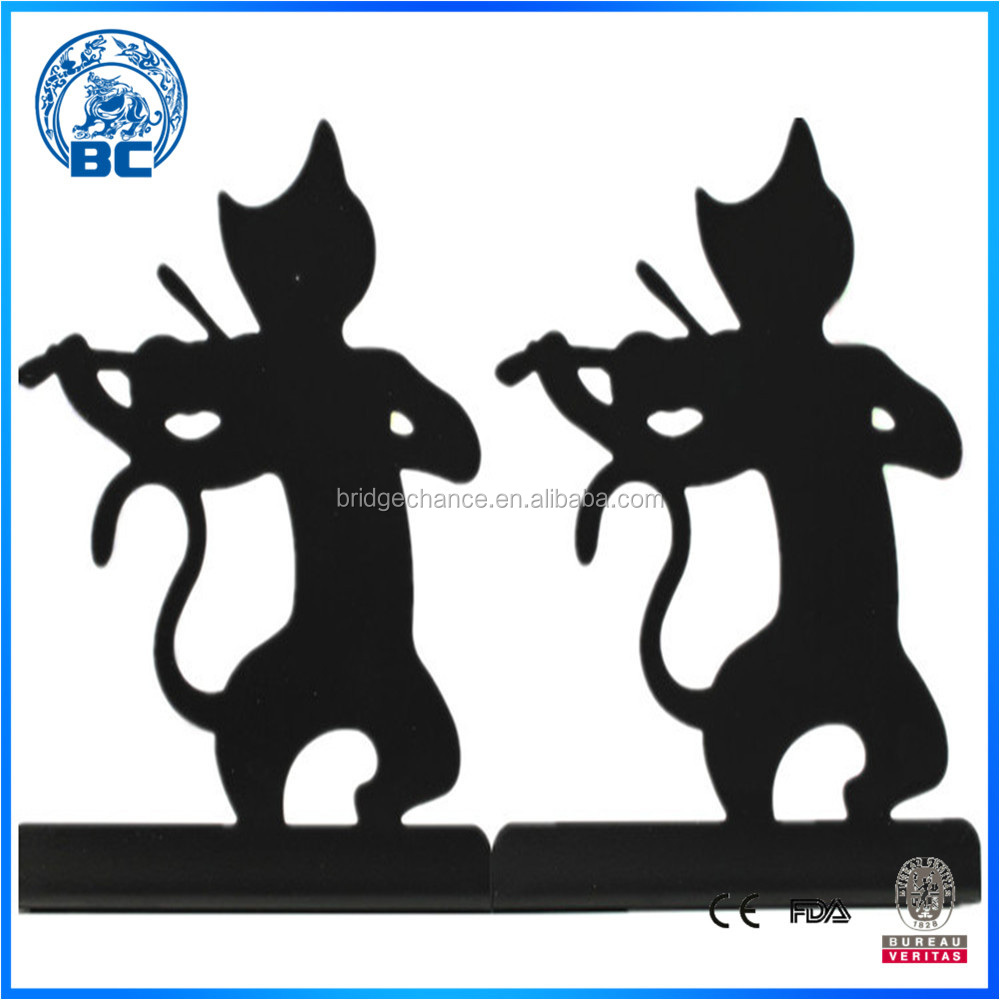 Music Cat Metal Bookend Decorative Book Stand