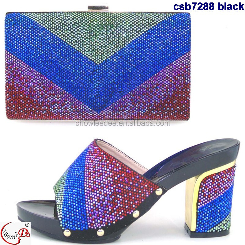 for shoes wedding party High black color heel mix and bag african and bag shoes csb7288 7451Z