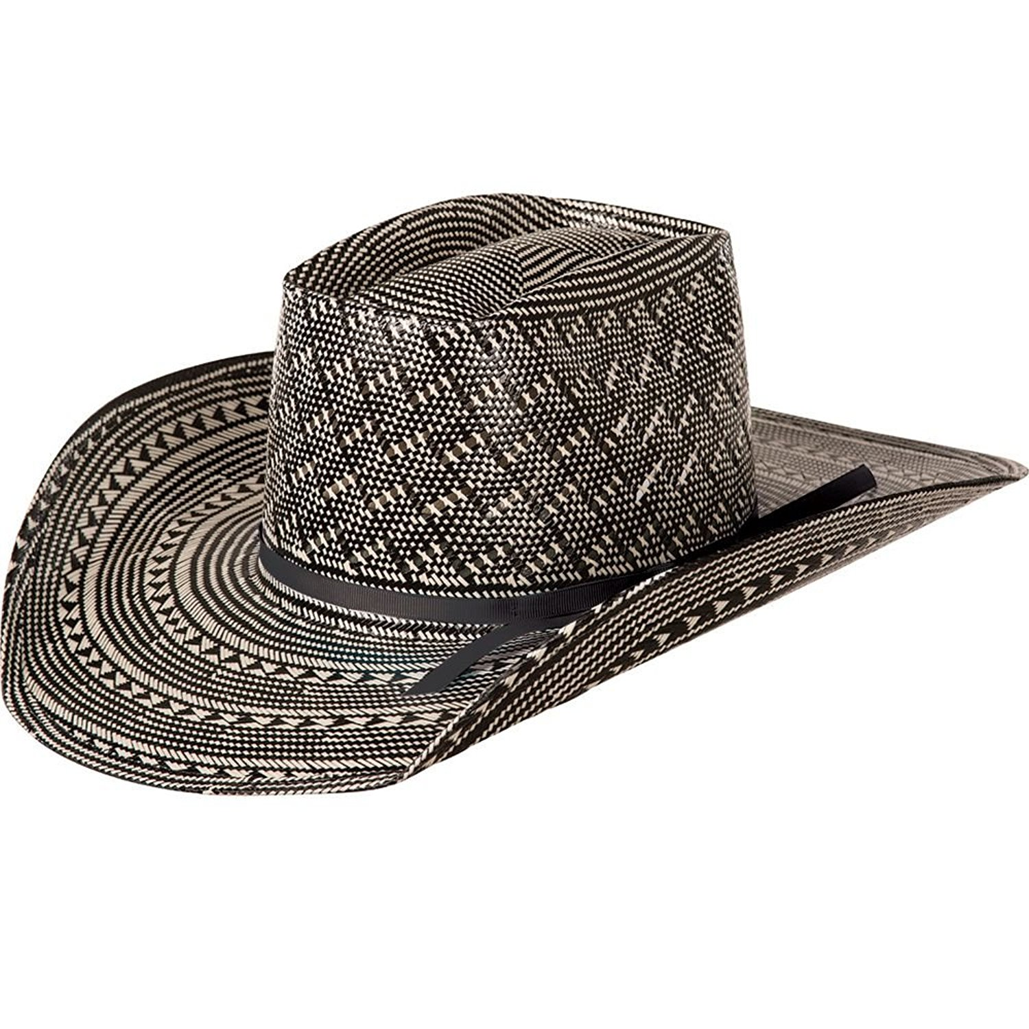 b8e56190dd395 Get Quotations · NRS American Hat Company Mens Black White Fancy Vent Two  Cord Black 4 Brim Straw