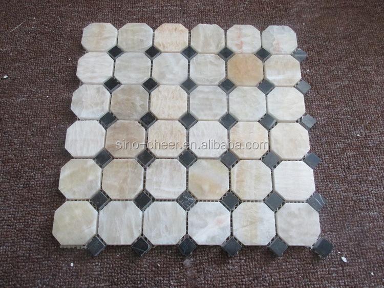 Nuovo arrivo punto nero onice piastrelle a mosaico ottagonale