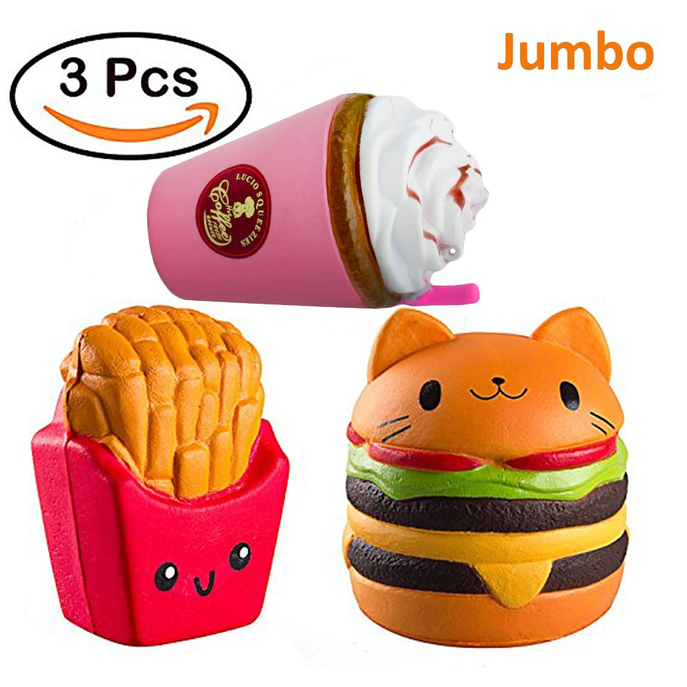 Jumbo Squishies Slow Rising Toy Cat Hamburger + Coffee cup + French Fries, Sweet Scented Squishy Toys Stress Relief Toys for Children&Adults(3pcs)
