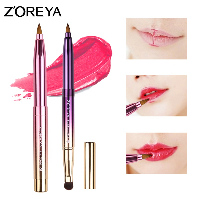z245 double end metal handle lip and eye shadow makeup <strong>brush</strong>