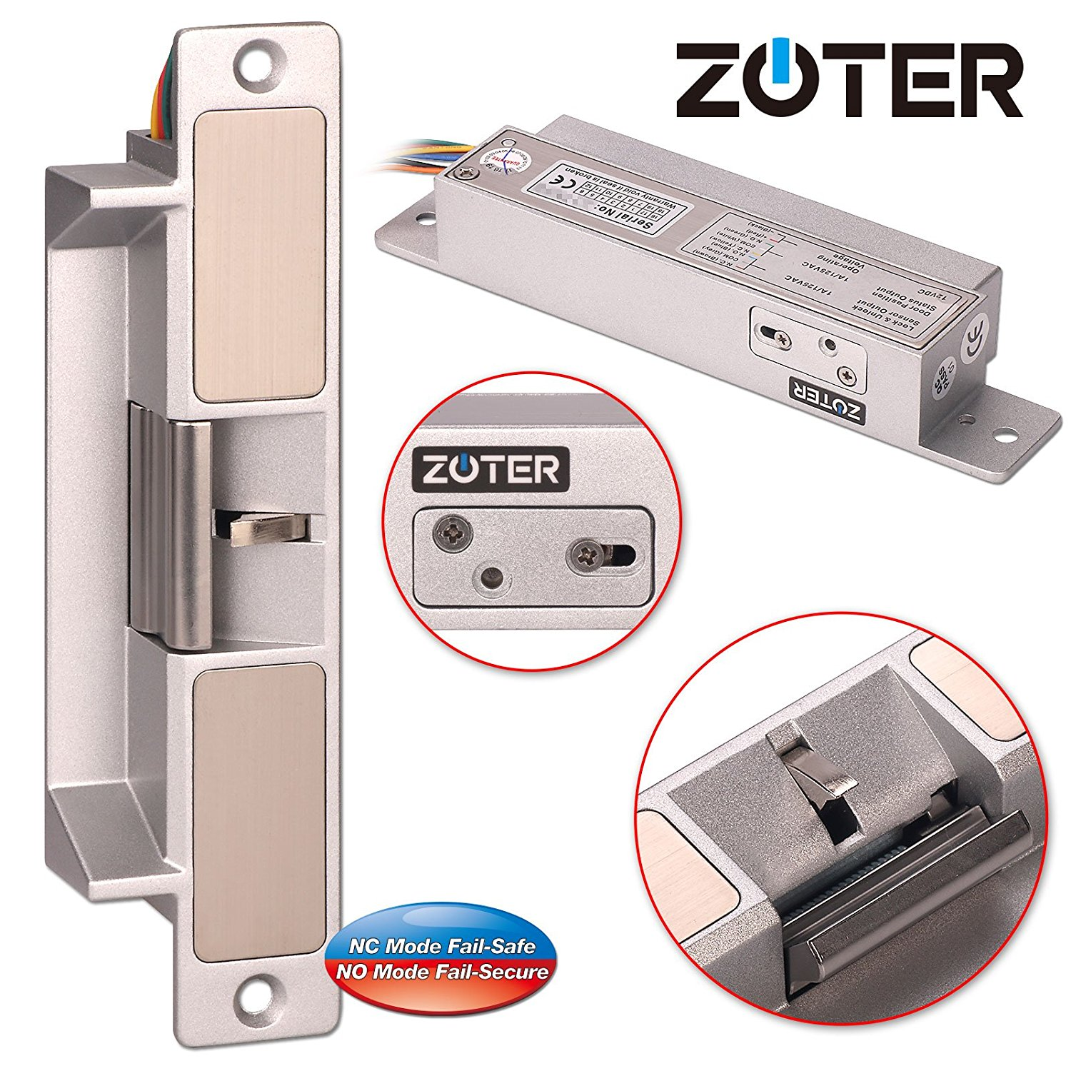 Electric Strike, ZOTER Door Lock European Type Heavy Duty NC NO Mode Fail Safe Secure Adjustable DC 12V Holding Force 1000kg