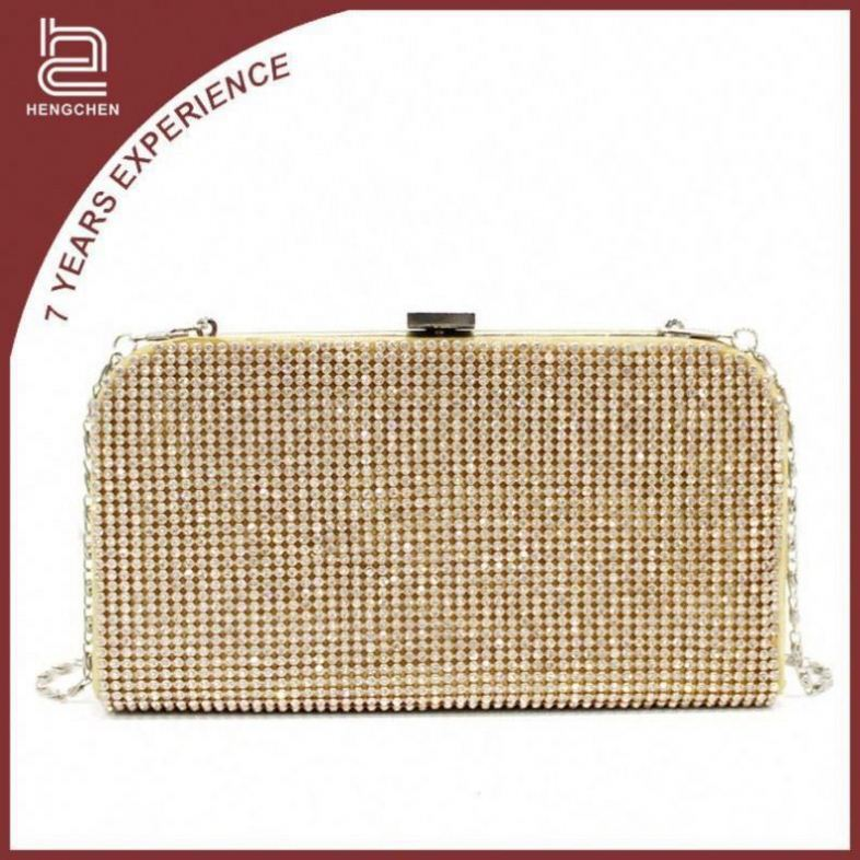 Gold Crystal Evening Bags brown leather purse for women