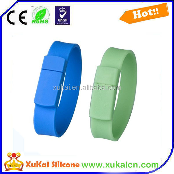 silicone USB bracelet with 3D logo design for protecting travel