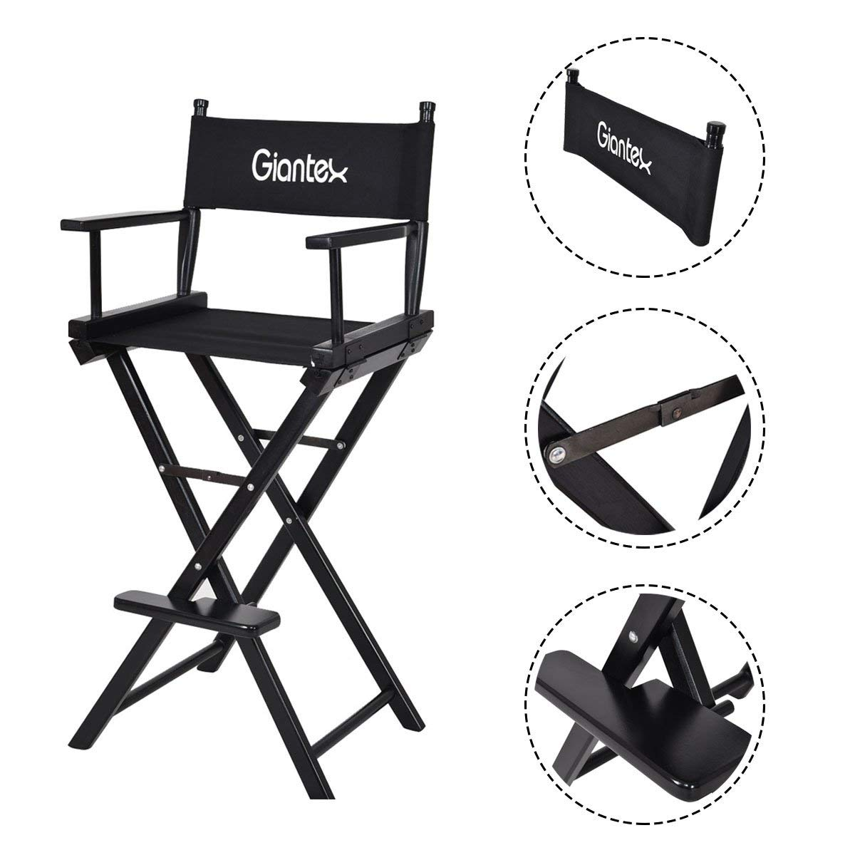 Black Folding Wooden Makeup Director Artist Chair