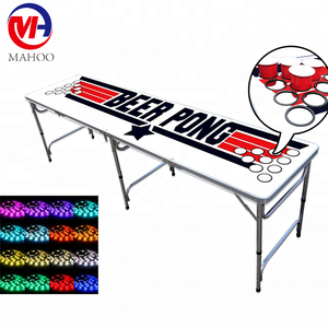 Outdoor folding cheap custom 8ft led beer pong table