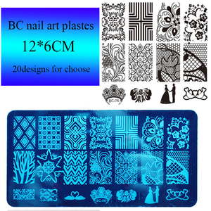 BC custom nail art stamping plates flower lace pattern nail stamp plate new arrivals