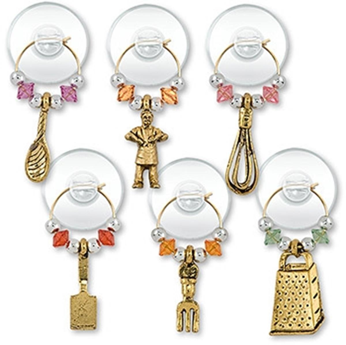 """Epic 83-067 Gold Colored """"Cooking Party Suction Cup"""" My Glass Charms (Set of 6)"""
