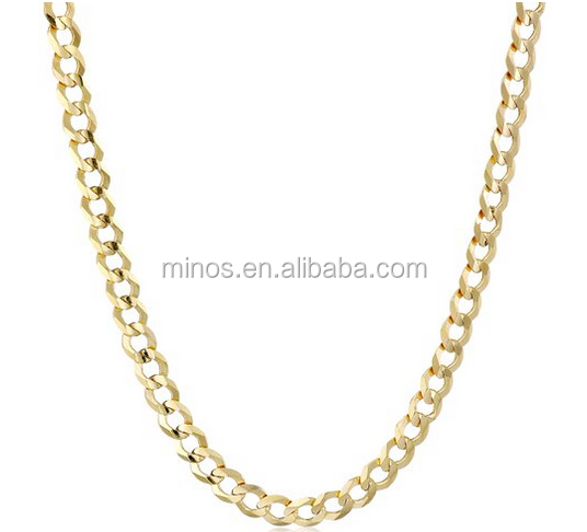 Men's 14k Gold 3mm Cuban Chain Necklace Cheap Gold Filled Long Necklace