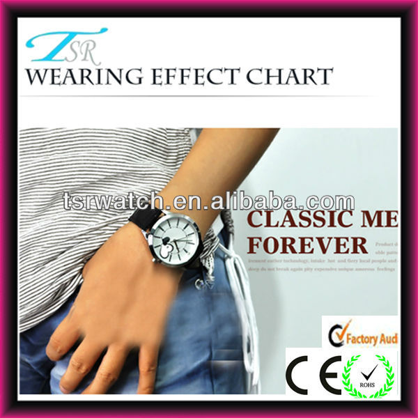 Japan quartz movt watch water resistant with heart shaped images on dial with calendar PU band with fashion style