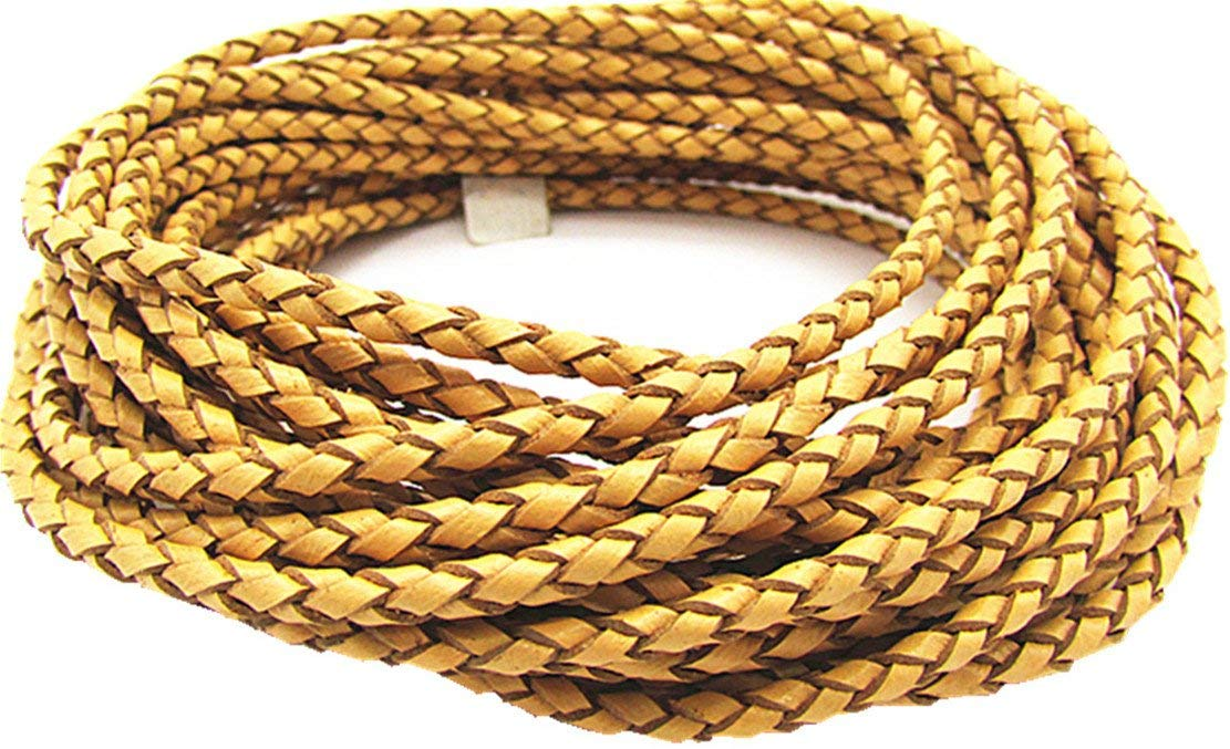 3.0mm Braided Leather Cord Round Braided Leather Cord Leather Working Cord String Cord 5Meter (Yellow)