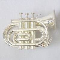 Professional Chinese Color Silver Plate Brass Body Stainless Steel Piston Mini Trompete Bb Trompeta B Flat Tromba Pocket Trumpet