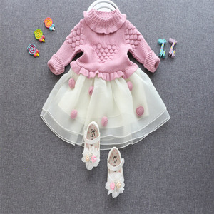 High quality girls one piece simple winter pink Vietnam Children's Sweaters dresses kids christmas party dress for 5 years old