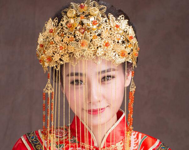 Free Shipping Chinese vintage wedding bridal headdress ...