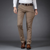 Large size men's business fashion daddy clothes thick khaki wholesale trousers stretch straight pocket Folded button casual pant