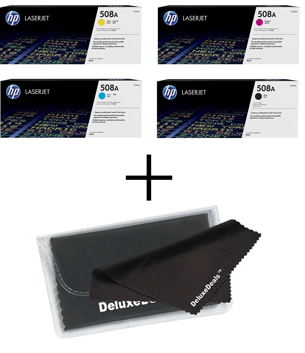 Genuine HP 508A CF360A, CF361A, CF362A, CF363A TONER SET BCYM LJ MFP M577 Enterprise M553 Sealed In Retail Packaging + DeluxeDeals™ MicroFiber LCD Screen Cleaning Cloth