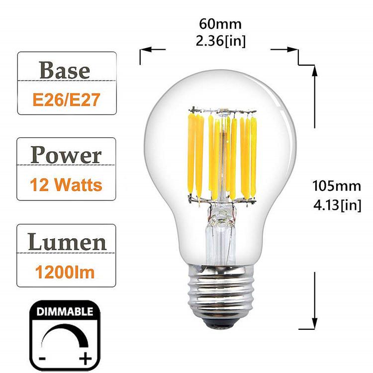 12 v 24 v 36 v E26 E27 Dimmable ampoule à filament souple 2 W 4 W 6 W 8 W 10 W