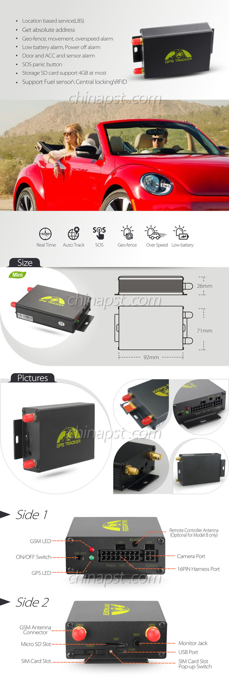2016 Professional Gps Vehicle Tracker Support Rfid Temperature ...