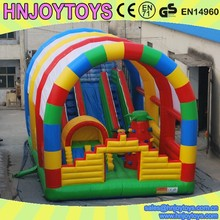 Rainbow theme inflatable fun city, inflatable aqua fun games, bouncy slide climb combo
