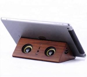 R918 Powered wireless sensor audio speaker best quality magnetic/magic induction wooden bamboo audio speaker stand for phone