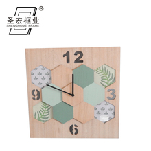 Wholesale OEM/ODM large luxury wood digital Wall Clock with art painting Home Decoration Bed Room