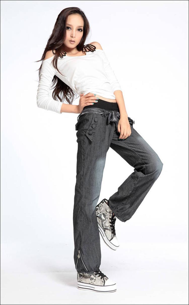 Сюрприз цене! самое лучшее качество новые шаровары широкий брюки ножные эластичные талии с бантом брюки для женщин широкий джинсовые брюки джинсы с поясом