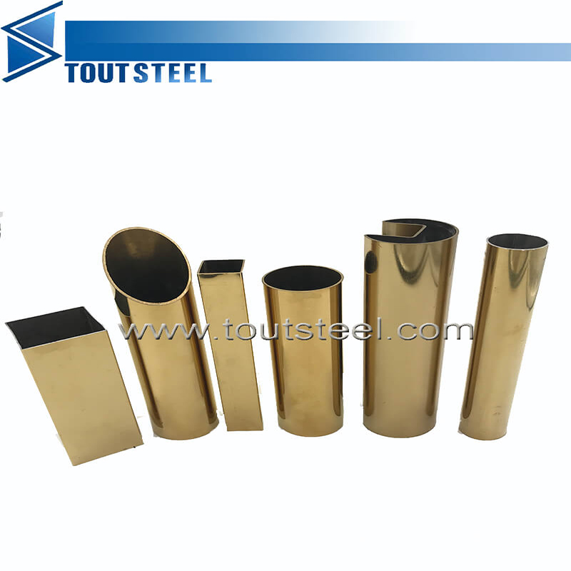 Satin Hairline Finish Stainless Steel Rectangular Color Pipe