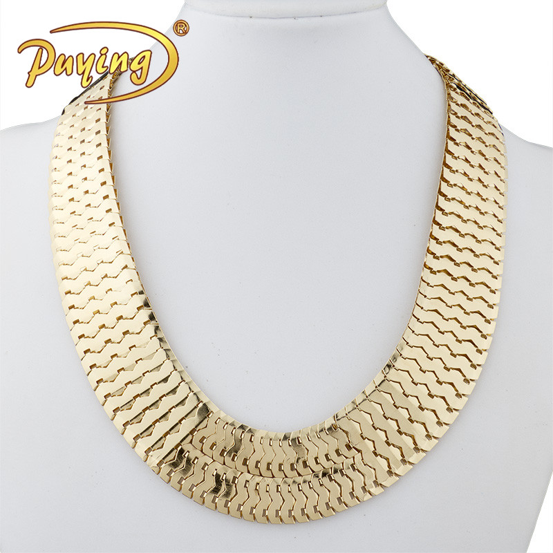 Indian Statement Fashion Bling Gold Plated Scale-like Chunky Wide Link Chain Tennis Neckalce Jewelry