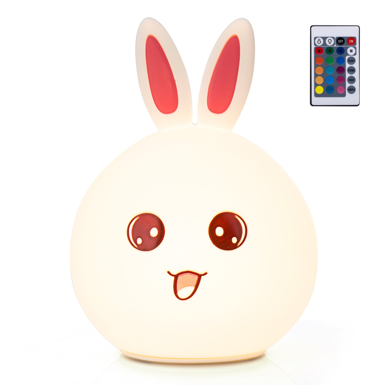 GoLine Remote & Tap Control LED Bunny Night Light, Cute Rabbit Multicolor Kids Baby Nursery Lamp, 5 Light Modes, Static/Breathing/Flashing, Brightness Adjustment, 20-hour Portable Use.(NL012-PK)