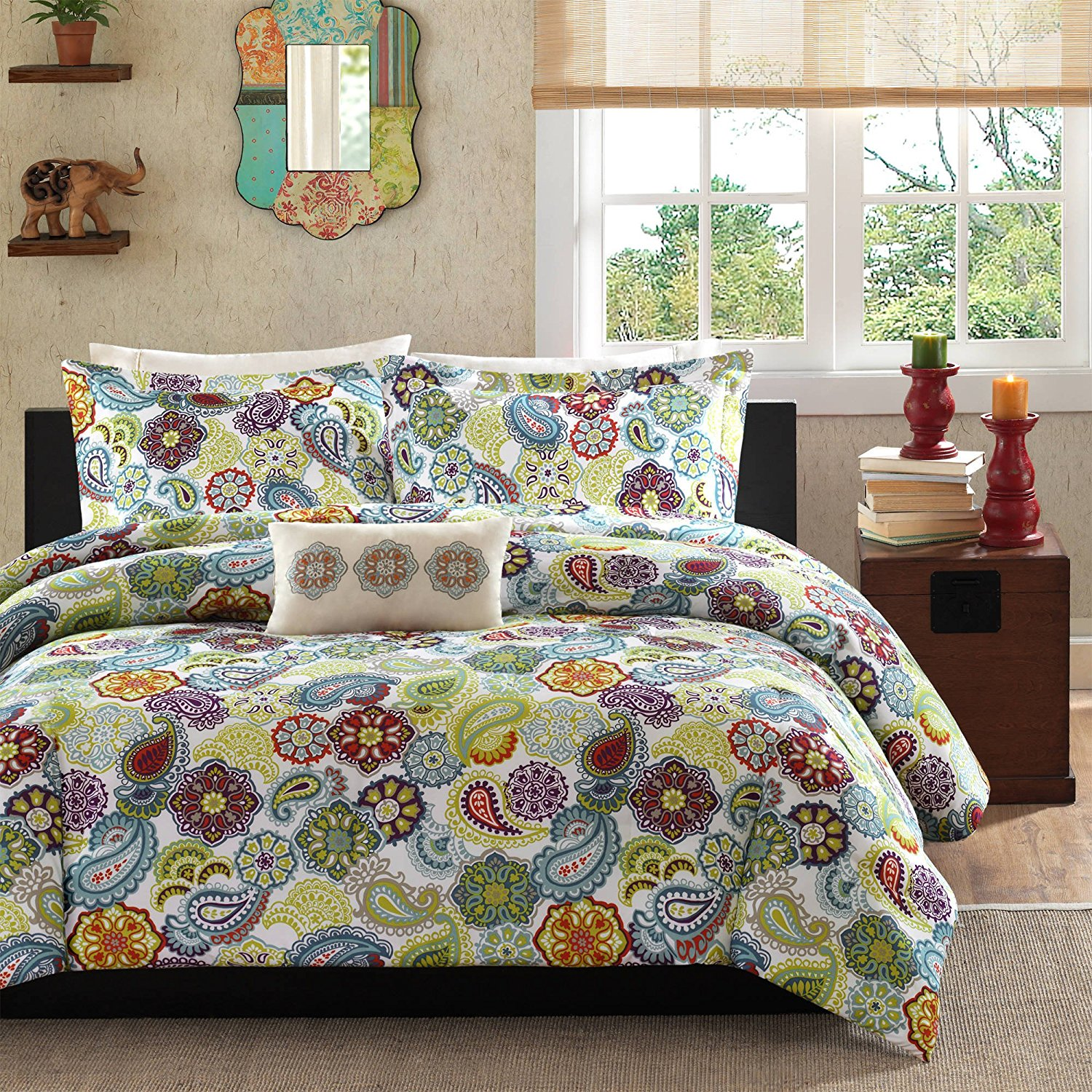3 Piece Girls Multi Color Paisley Floral Comforter Set Twin Twin Xl, Beautiful Medallion Motif Themed Flower Printed Boho Chic Hippy, Red Blue Yellow Brown Teen Bedding Kids Bedroom, Polyester