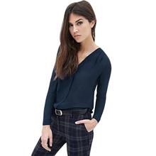 4de144e330cb11 Romacci Fashion Women Plus Size Shirts V Neck Long Sleeve Chiffon Blouse  Solid OL Ladies Casual