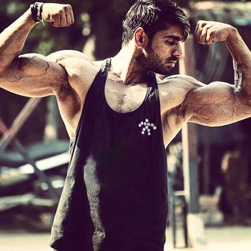 Cotton muscle Singlets printed tank top fitness men clothing