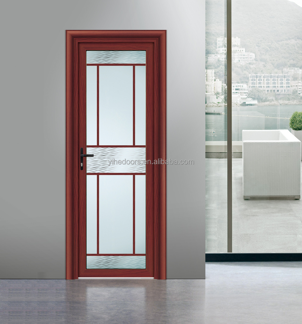 Modern interior frosted glass bathroom door aluminium door for Puertas madera vidrio para interior