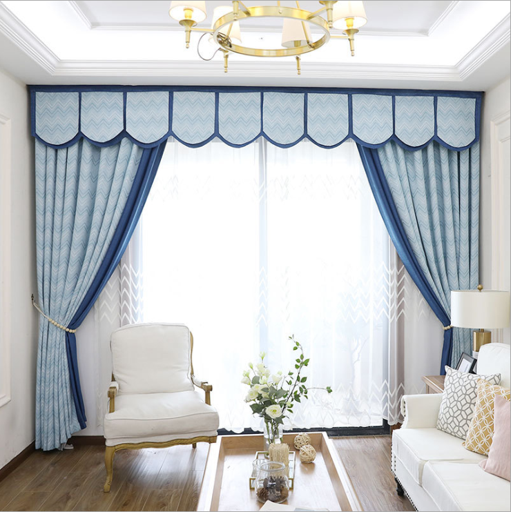 2019 Morden Blue Luxury Jacquard Valance Curtains For Bedroom Living Room  Curtain Fabric - Buy Curtain Fabric,Curtains For The Living Room,Jacquard  ...