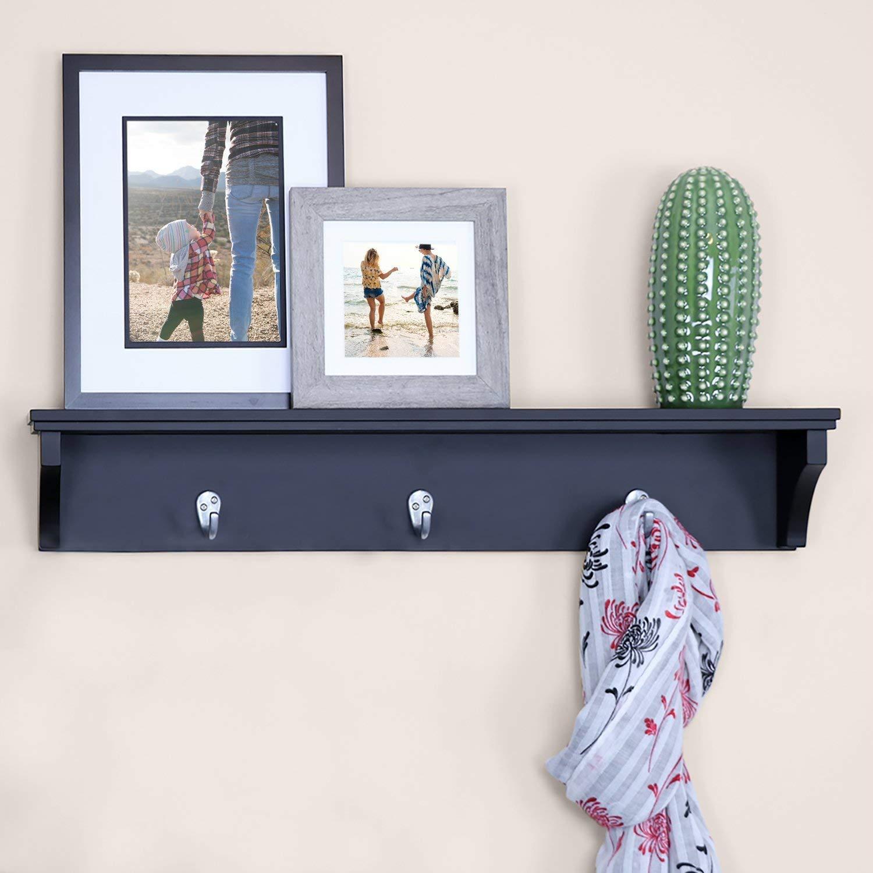 "Ballucci Coat Rack Shelf, Coat Rack Wall Mount Hook Rack with 3 Metal Hooks and Floating Shelf for Storage, Entryway Hallway Bathroom Living Room Bedroom, 24"", Black"