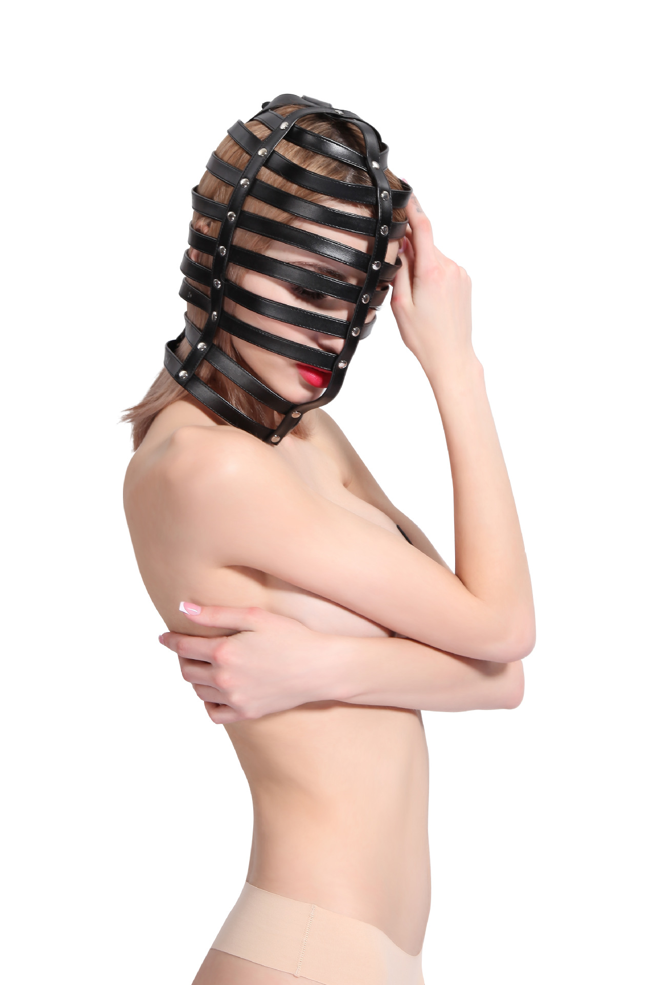 Sexy Leather hood Zentai Slave Fetish Adult Sex Toys restraint head hollow bondage