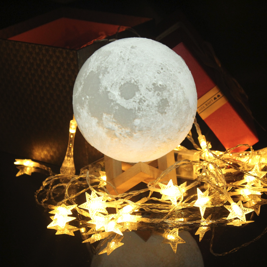 2017 Hot Selling Moon Lamp 15cm,3D Printed Light Moon Night Light 16 Color