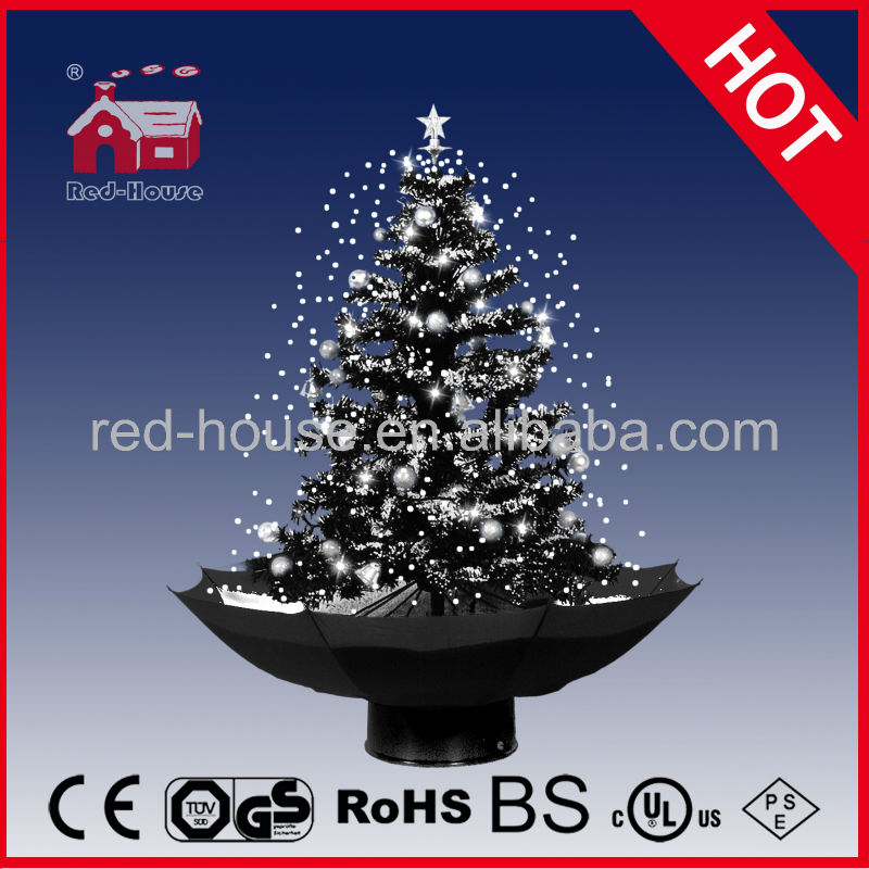 Clinton Cards Hot selling item for 2013 Christmas Decorations, Snowing Christmas Tree with Black Umbrella Base