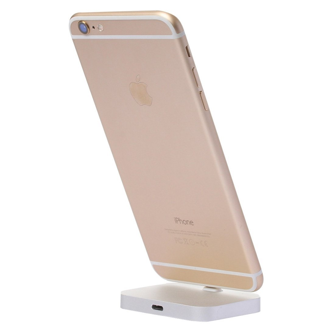 apple aluminium charging dock, Fone-Stuff - desktop charge and sync cradle mount stand for iphone 7/plus 6s plus & 6 plus in silver
