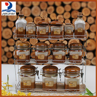 Reasonable price factory supply 13pcs canister set with metal stand for season on sale