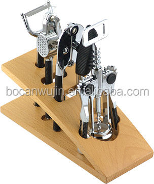 4Pieces wine opener accessories of kitchen tools with metal and plastic material