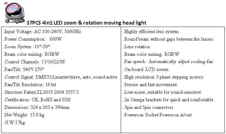 China Supplier 37pcs 15w Rotation Moving Head Light Zoom