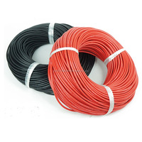 RC Soft High Temperature Silicone Wire 6AWG 8AWG 10AWG 12 14 16 18 20 22 AWG Cable Red Black color For Lipo Battery ESC Servo