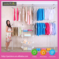 Retractable Muti-functional DIY ceiling to ground combination clothes rack/wardrobe hanger /drying rack