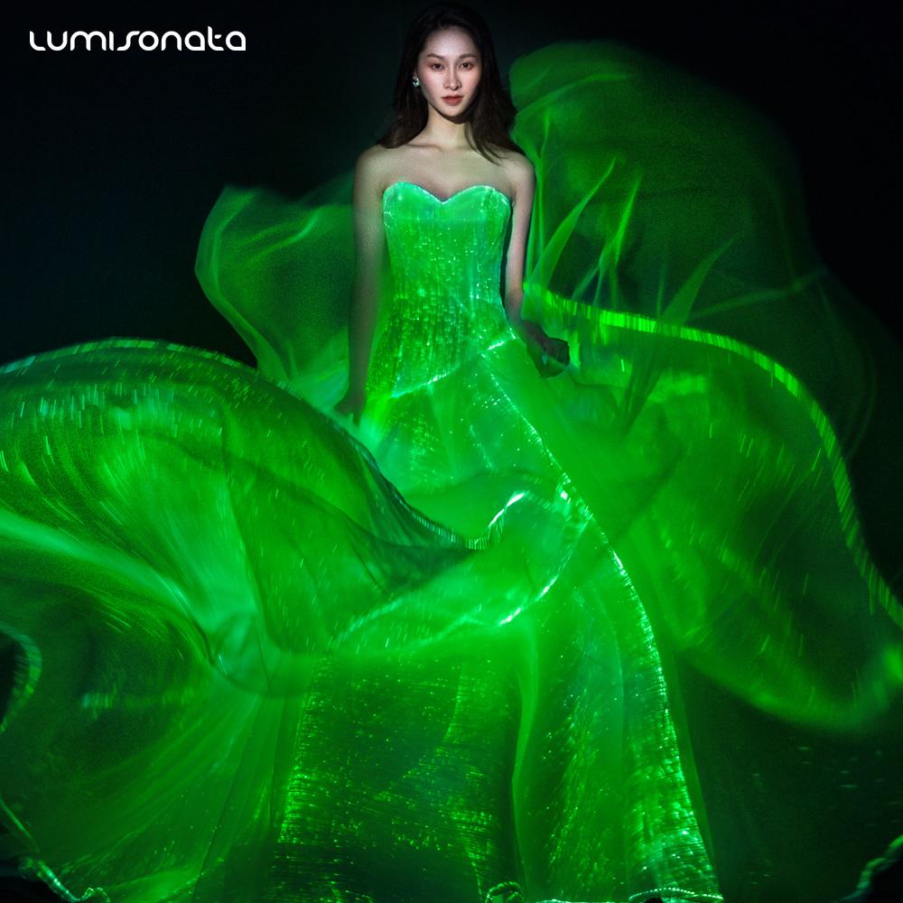 b5c071356a2 2018 nouvelle mode LED éclairage robe lumineuse robe de soirée de mariage