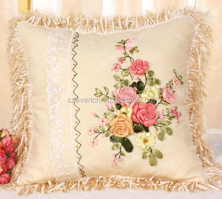 Handmade ribbon embroidery cushion cover buy