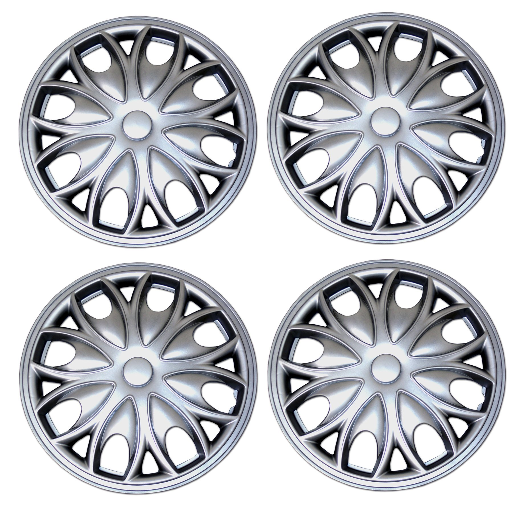 TuningPros WSC3-721S15 4pcs Set Snap-On Type 15-Inches Metallic Silver Hubcaps Wheel Cover Pop-On