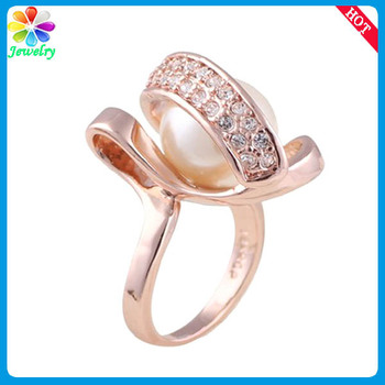 Fashion Rose Gold Jewelry Pearls Rhinestones Wedding Women Men Ring