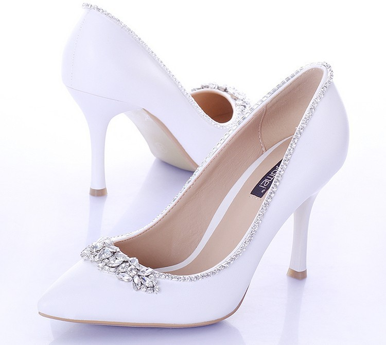 Get Quotations · Sweet White Bridal Shoes with Crystal Pointed Toe 9cm  Heels Women Pumps Satin Formal Dress Shoes 2f30413fb1a9